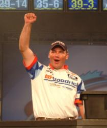 BFGoodrich Tires pro Dustin Kjelden celebrates after learning he won the 2007 FLW Walleye Tour Championship.