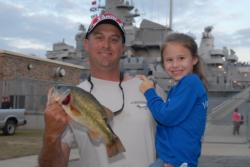 Chris Hults of nearby Vancleave, Miss., leads the Co-angler Division of the Stren Series Championship with a two-day total of 14 pounds, 3 ounces.