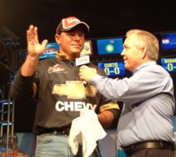 Western pro Mathew Saavedra is fourth after catching 7-13 Saturday.