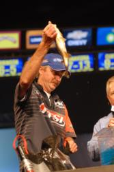 Mike Jackson of San Mateo, Fla., held fast to his third place position with five bass weighing 9 pounds, 3 ounces.