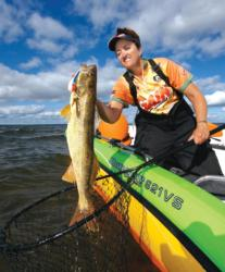 Walleye pro Julia Davis of Port Clinton, Ohio, is no stranger to the hunt in Green Bay and Bays de Noc of Lake Michigan.
