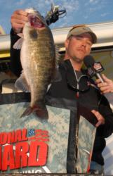 A fine 5-pound specimen of the rare shoal bass weighed in by tournament winner Clint Brownlee on day four.