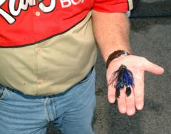 Dicky Newberry used this black-and-blue ¾-ounce Talon jig to sack most of his winning bass on the final day.