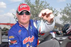 Local pro Ryan Ingram of Phenix City, Ala., shows off his key lure: a Strike Zone Master Blaster spinnerbait.