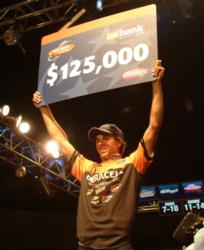 For winning the Wal-Mart FLW Tour event on Smith Lake, pro Michael Bennett earned $125,000.