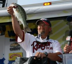 Finishing third, local pro Tim Harp sung the praises of a custom spinnerbait that fourth-place pro Chris McCall gave him.