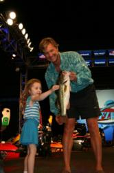 Five-year-old Alana Berlo was super excited about the Snickers Big Bass that her dad, fifth-place pro Shayne Berlo caught. The fish weighed 4 pounds, 1 ounce.