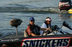 In the second place boat, Shayne Berlo and his co-angler partner Michael Roy bring a double shot of big bass potential to day three.