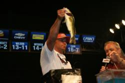 Robert Crosnoe got three bites in the final round and caught all three fish. Fortunately, two were big bass.