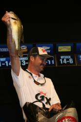 Fishing finesse worms on a 1/8-ounce football head jig lead Billy Cain to a second place finish.