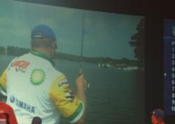 The Columbia area crowd watches the big screen as pro Mark Rose plays a fish.