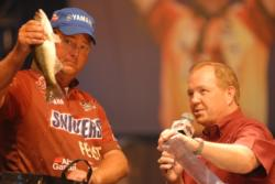 Snickers pro Chris Baumgardner of Gastonia, N.C., finished fourth with a two-day total of 16 pounds, 9 ounces worth $60,000.