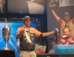 Duracell pro Michael Bennett shows off two of his tournament-winning bass.