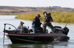 Pro winner Tommy Skarlis boats a chunky Missouri River walleye.