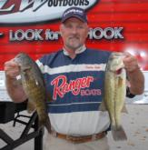 Stephen Smith of Glenwood, Ark., leads the Co-angler Division of the Stren Series Championship on Table Rock Lake with five bass weighing 12 pounds, 11 ounces.