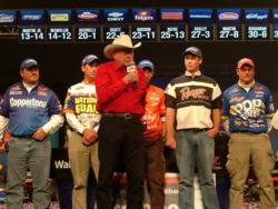 Forrest L. Wood addresses the five pros who qualified for the 2009 Forrest Wood Cup. From left to right they are David Curtis, Ott Defoe, Michael Iaconelli, Cody Meyer and Greg Bohannan.