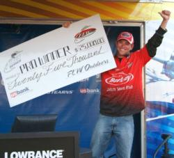For winning the Stren Series Texas Division opener on Falcon Lake, Joe Don Setina earned $25,000 and a fully-equipped Ranger boat.