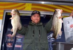 Tommie Goldston of Gardnerville, Nev., leads the Co-angler Division in Stren Western competition at Clear Lake after day one with a 22-12 limit.