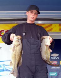 Kyle Baker of Lancaster, Calif., is second in the Co-angler Division after day one at Clear Lake.