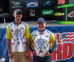 Representing LSU-Shreveport, Zach Caudle and Joe Landry, both of Shreveport, La., placed second at Sam Rayburn Reservoir with six bass, 17-15, $5,000 in scholarship money.