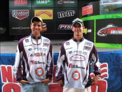 Texas A&M teammates Tyler James of College Station, Texas, and Weston Brown of Midlothian, Texas, placed fourth at Sam Rayburn with six bass, 16-3, $3,000.