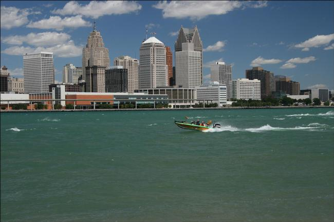 Bass anglers traverse the Detroit River on their way back from Lake St. Clair.