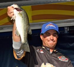 Using a chatterbait and a drop shot, Justin Kerr moved up two spots to fifth place.