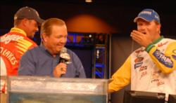 BP pro Ray Scheide covers his mouth in disbelief as he is named the winner of the 2009 Walmart Open.