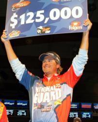 For winning the FLW Tour event on Lake Champlain, pro Scott Martin earned $125,000.