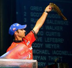 Second-place finisher Michael Iaconelli holds up his biggest smallmouth bass from day four.