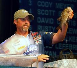 With only one bass on day four, pro Rusty Salewske dropped from first place to fifth.