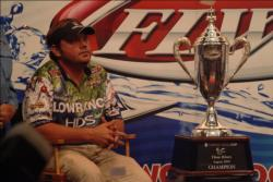 Greg Hackney of Gonzales, La., takes questions from the media shortly after capturing the 2009 Forrest Wood Cup title.
