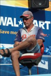 Pro Dick Shaffer of Rockford, Ohio, sits in the hot seat patiently awaiting the conclusion of the Stren Series event at Fort Madison, Iowa.