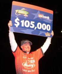 For winning the 2009 FLW Walleye Tour Championship on the Missouri River, Scott Steil earned $105,000.