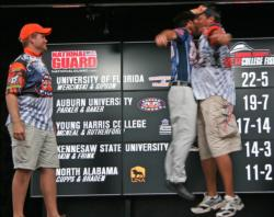 National Guard pro Justin Lucas launches himself for a big-time chest bump with Auburn angler Dennis Parker as Parker