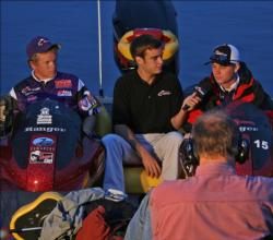 Starting the day in third place, the Young Harris team of Brad Rutherford and Clint McNeal conduct an interview with FLW College Fishing host Chris Cain.