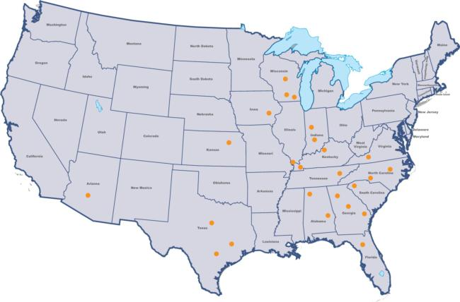 Map of the top 25 bass fishing colleges