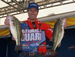 After catching 16 pounds, 6 ounces on day one, National Guard pro Brent Ehrler is in third place.