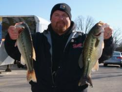 Shane Melton leads the Co-angler Division with 13 pounds, 9 ounces.