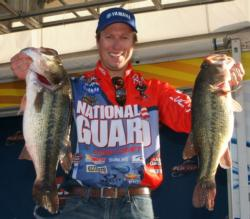With a two-day total of 38 pounds, 8 ounces, Brent Ehrler has accumulated a whopping 8-pound, 5-ounce lead.