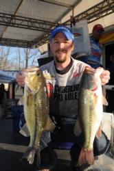 Co-angler Brad Roberts of Nancy, Ky., is in second place with a two-day total of 16-9.