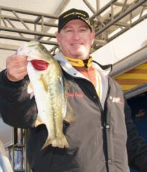 Pro Greg Pugh caught four bass Friday that weighed 9 pounds, 5 ounces. Pugh is in fourth place with one day of competition remaining.