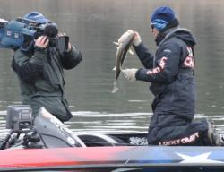 National Guard pro Brent Ehrler shows his day-three kicker off to the cameras.