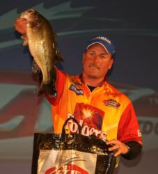 Bryan Thrift holds up his lone keeper bass from day four on Table Rock Lake. Thrift finished the event in fourth place.