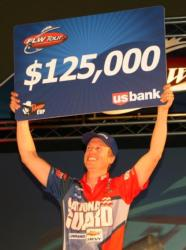 National Guard pro Brent Ehrler holds up his check for winning the 2010 FLW Tour opener on Table Rock Lake.