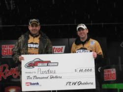 The Purdue University team of Chris Bookout and Michael Ruhana won first place overall at the FLW Central Division College Fishing event at Lake of the Ozarks. For their efforts, the duo earned $10,000 in scholarships.