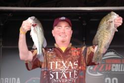 Texas State University team member David Cosner proudly displays his team's second-place catch during the finals of the 2010 FLW College Fishing National Championship.