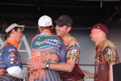 University of Florida team members receive congratulatory hugs from Texas State University after winning the 2010 FLW College Fishing National Championship.