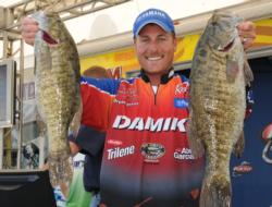 Red hot Bryan Thrift continues to dominate the FLW Tour by grabbing second place after day one with 20-3 of smallies.