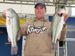 After catching 17 pounds on day one, Glenn Browne caught another five-bass limit Thursday weighing 16-15.